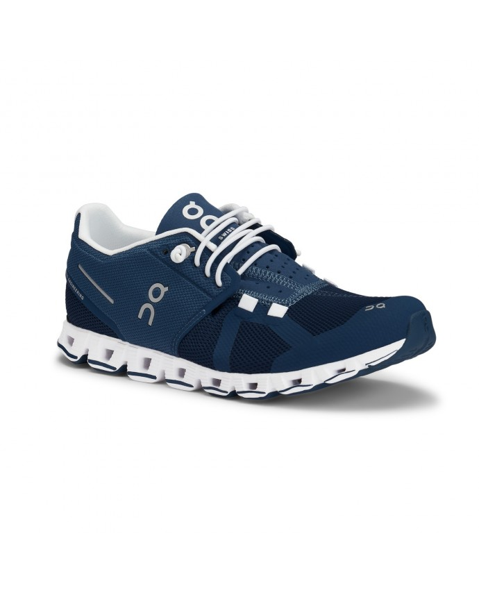 Cloud Running Shoes On Woman Denim/White