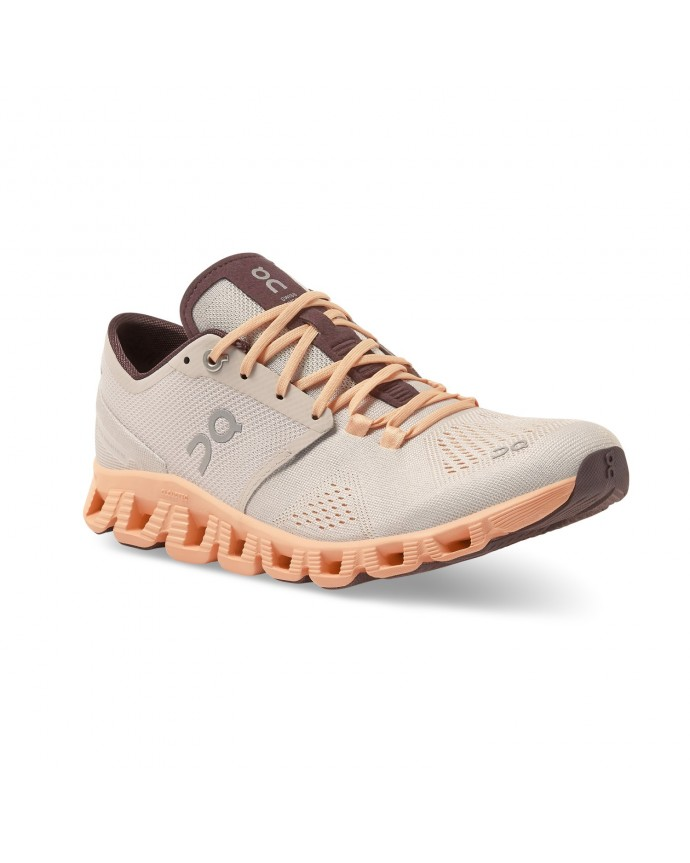 Cloud X Running Shoes On Woman Silver/Almond